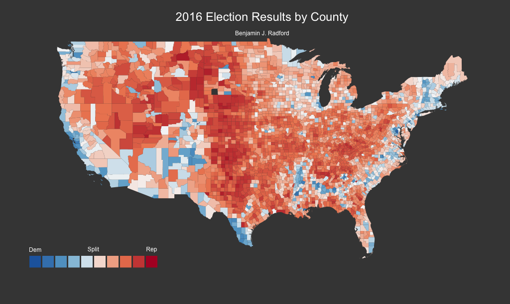 2016 presidential election votes by county for the continental U.S.