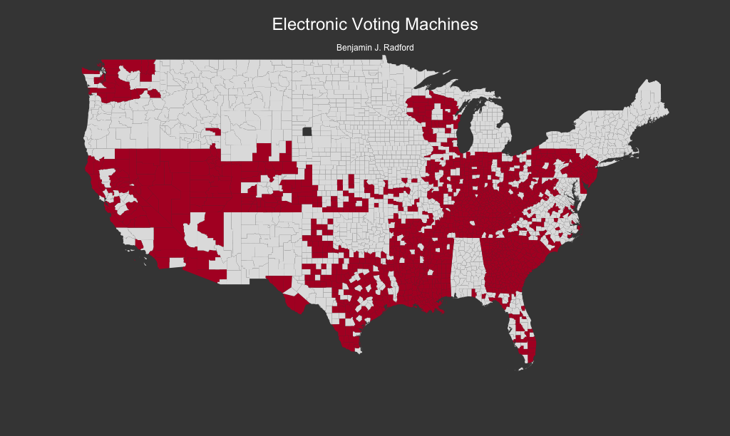Counties with electronic voting machines in the 2016 U.S. presidential election.